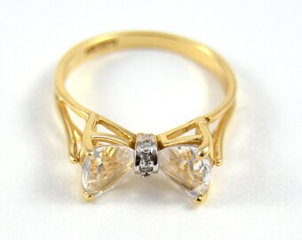 Bow Ring 10k Gold Sapphire 6.5