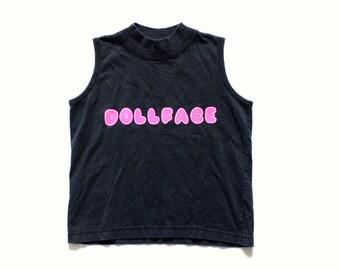 Dollface Tank Top Black Sleeveless Top High Neck Shirt Hipster Shirt Goth Shirt Grunge Shirt Graphic Tee
