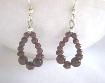 Garnet loop mixed bead shape sterling earrings