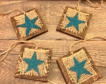 Christmas ornaments, Burlap ornaments, Turquoise Star ornaments, Reclaimed wood decor, wood ornaments