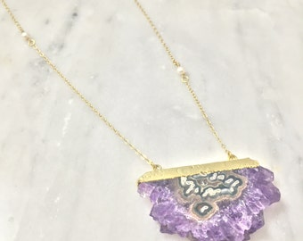 Amethyst Half Moon Pendant with Pearls