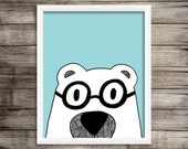 8x10 Nerdy Bear - Blue