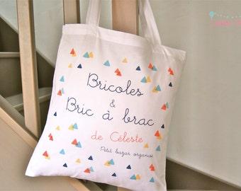 """Tote bag BIO first name customizable """"odds & bric à brac"""""""