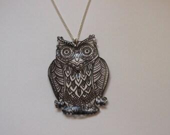 Hand drawn owl statement necklace