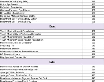 2016 Younique Product Price List