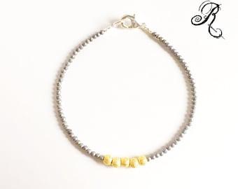 Tender - Puristic Bracelet - gold / silver / hematite - Elegant Bracelet - Friendship Bracelet - Brides Bracelet