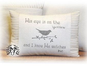 Sparrow, Spring, Pillow Cover, Vintage Style, Home Decor, Faith, Ticking, Stripe
