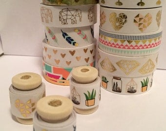 Washi Tape Samples- Variations of Gold Bohemian Modern Designs