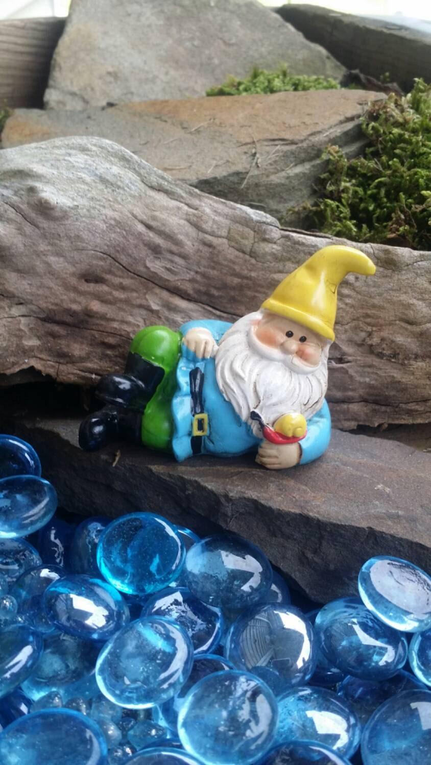 Miniature Garden Gnome Spring Gnome Gardening Gnomes Lying
