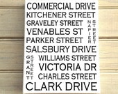 East Vancouver B.C. - Love This Place Street Name Canvas Art Print - Customize With Your Street - Vancouver TheJitterbugShop