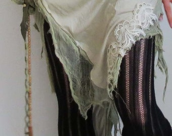 sweet skirt with lace - boho, hippie, fairy