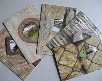 WRITING CARD SET 5 Blank Cards & Envelopes Featuring Windows on Country Scenes