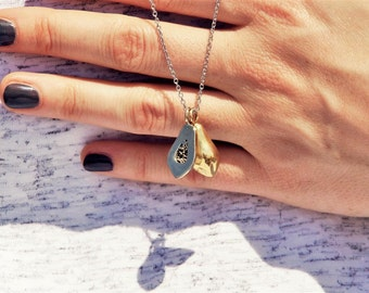 The Slit Papaya, Brass Papaya Pendant, Brass Pendant, Golden pendant, Jewelry, Necklace, golden jewelry