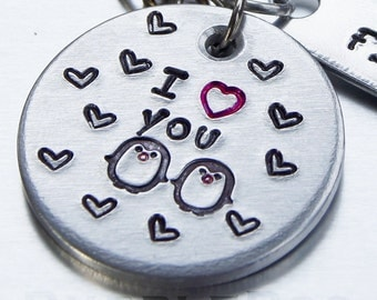 Penguin Love Keyring - Aluminium Key fob which can be personalised with name tags or wording of your choice.