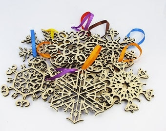 Set of snowflakes in a box decoration decor