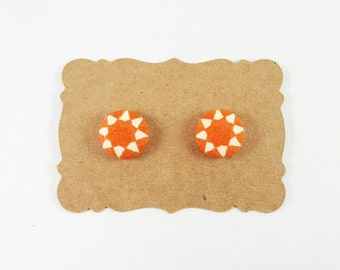 Sunstruck Fabric Covered Button Earrings- Itties size