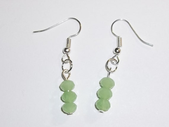 August Birthstone Genuine Faceted Green Peridot Silver Plated Hand Crafted Drop / Dangle Earrings