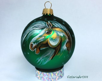 Hand painted Christmas Glass ornament Horse Mustang