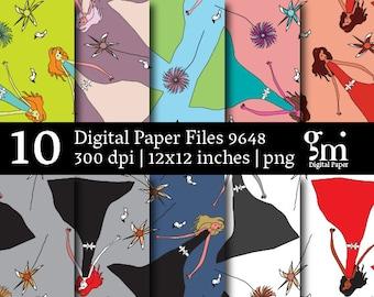 Princess Digital Paper, Digital Collage Sheet, Digital Paper Pack,  Instant Download, Digital Download