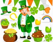 70% OFF SALE St Patricks clipart, Leprechaun clip art, St Patrick graphics, Leprechaun digital image, Irish clipart - CA338