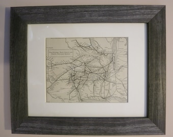 Antique Chicago, Pacific, Rock Island Railroad Map Framed