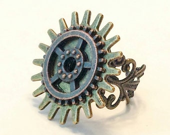 Steampunk ring, steampunk jewelry, industrial ring, adjustable, filigree, gears, cogs, mixed metals, handcrafted jewelry, The Urban Disciple