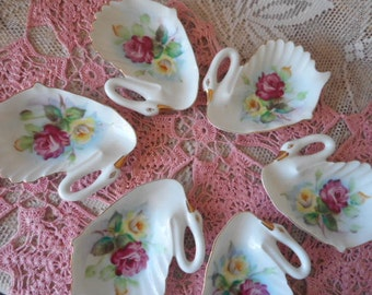 Swan Shaped Tea Bag Holders / Spoon Rest Vintage Set of Six