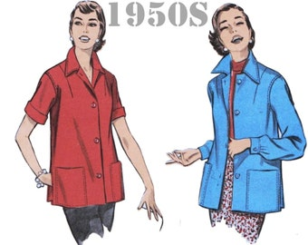 "1950s Shirt Jacket Bowling Shirt Pattern ADVANCE 7948 bust 30"" 1950s Jacket Pattern Smock Top 1950s Tops 1950s Blouse 1950s Jacket Pattern"