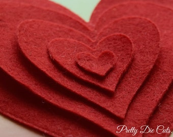 Felt Die Cut Curved Hearts, Craft Embellishments