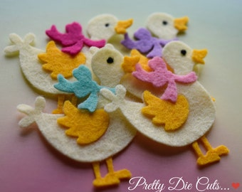 Felt Ducks with bows, Felt bird shapes, Die Cut Craft Embellishments