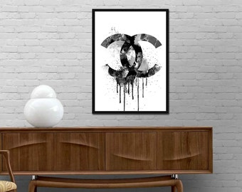 Chanel Watercolor Sign Poster Modern Brand Fashion Print Minimalist wall art Graphic design decor Best price canvas art