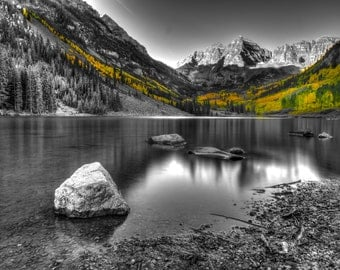 Landscape Photography - Maroon Bells | Apen, Colorado | Color OR Black and White | Canvas and/or Print