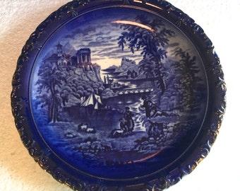 Antique Minton Flow Blue Plate