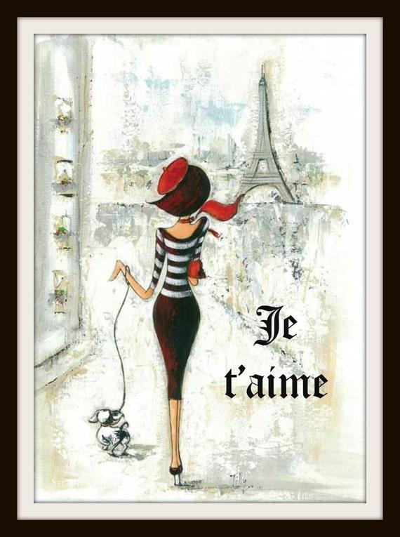 Vintage Parisian Art Print Je T'aime I