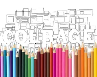 Adult Colouring Page Courage