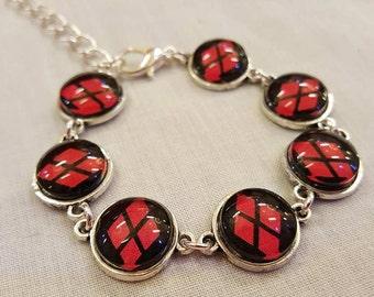 DC Comics, Harley Quinn, black and red, diamonds bracelet