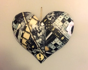 heart collage, black and white heart, heart wall hanging