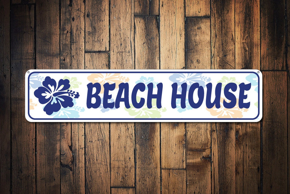 Beach house sign personalized hibiscus sign beach house for Custom beach house