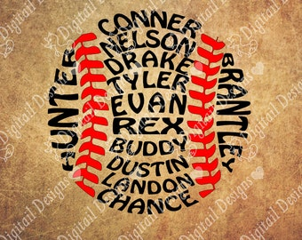 Your Custom Baseball Names Softball Names Word Art SVG PNG DXF Eps Fcm Ai Cut file for Silhouette or Cricut. Printable art Coach gift svg