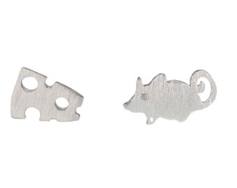 Super Cute Mismatched Little Mouse and Cheese Stud Earrings in Sterling Silver with CZ Crystals