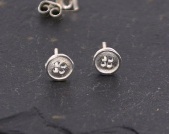 Sterling Silver Dainty Little Button Stud Earrings - Cute and Quirky Jewellery  z22