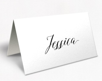 Black and White Monogram Wedding Place Cards, Modern Beautiful Script Font, Free Colour Changes, DEPOSIT | Peach Perfect Australia