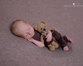 Crochet Teddy Bear, Newborn Stuffed Animal,  Newborn photo props, Beige teddy bear,Photo props,