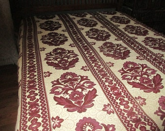 Vintage Italian Impero Bedspread Blanket Throw  Floral Burgundy  Fringed 102 x 110