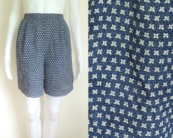 35%offJuly28-31 90s floral shorts size small, high waist short, rayon shorts, blue shorts, womens shorts, 1990s, lightweight, crepe