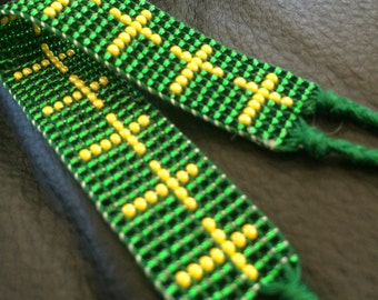 Beaded Packers Cross Friendship Bracelet