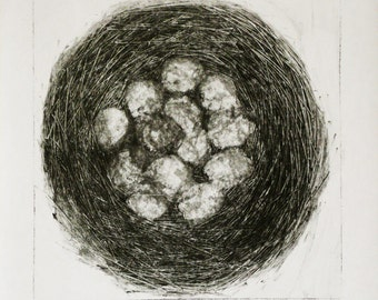 "Monoprint monotype ""Nesting"" монопринт"