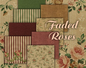 Faded Roses aged floral Digital Scrapbook Paper made from Vintage Wallpaper