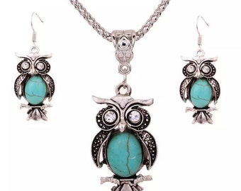 Turquoise owl necklace and earrings set!