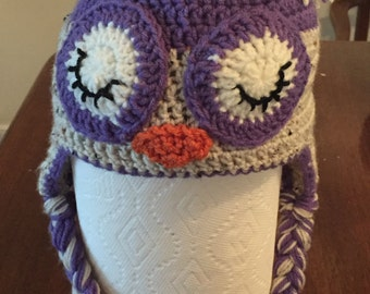 Crochet Sleepy Owl (oatmeal/purple)